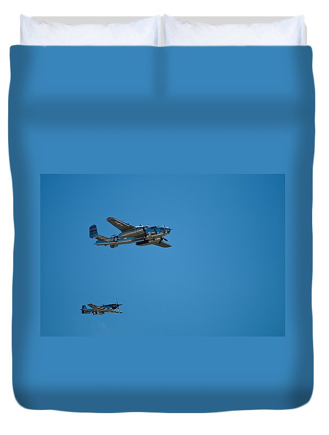 b25 Mitchell Bomber With Corsair Mustang Fighter Escort Duvet Cover featuring the photograph B25 Mitchell Bomber With Corsair Mustang Fighter Escort by Paul Mangold