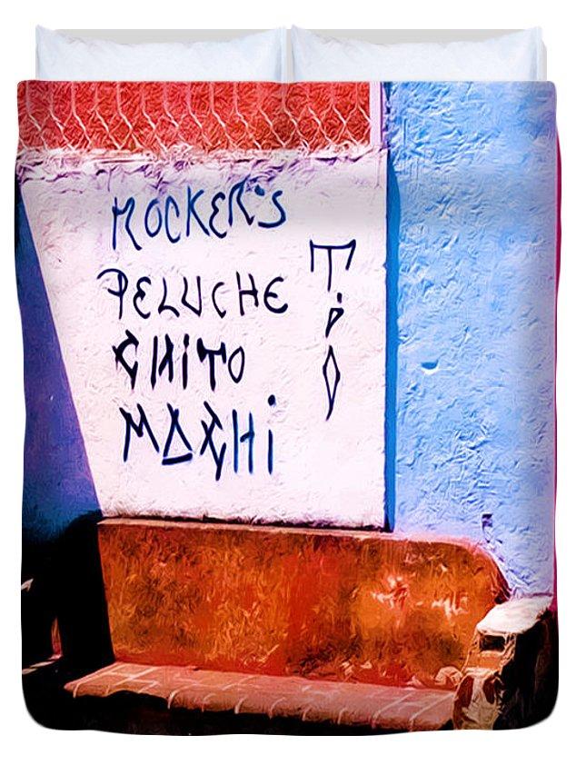 Oaxaca Duvet Cover featuring the photograph Backstreets Oaxaca by Terry Fiala