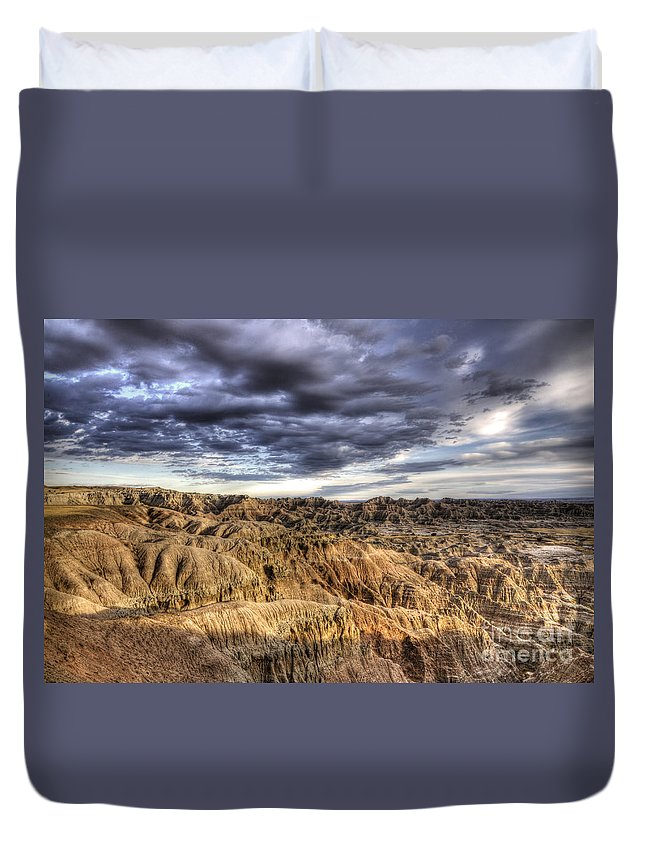 Badlands Duvet Cover featuring the photograph Badlands Of South Dakota by Bob Christopher