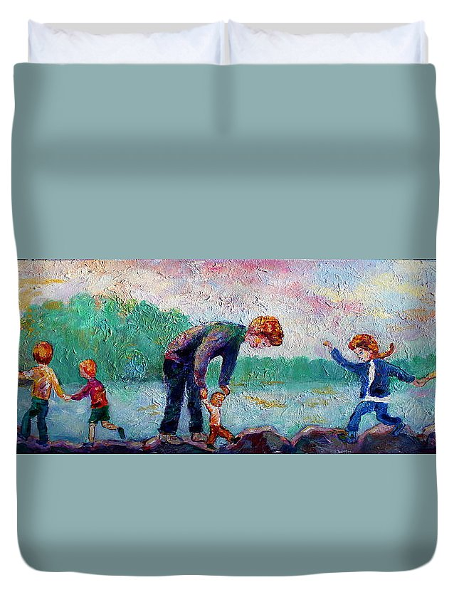 Children Balancing On The Rocks By The Shore Of The Lake Duvet Cover featuring the painting Balance by Naomi Gerrard