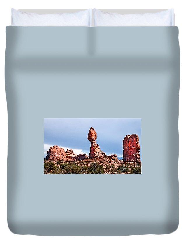 Balance Duvet Cover featuring the photograph Balance Rock by Robert Bales