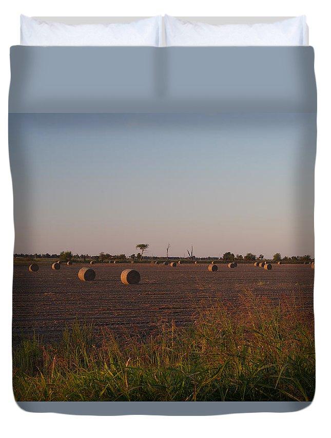 Peanut Duvet Cover featuring the photograph Bales In Peanut Field 1 by Douglas Barnett