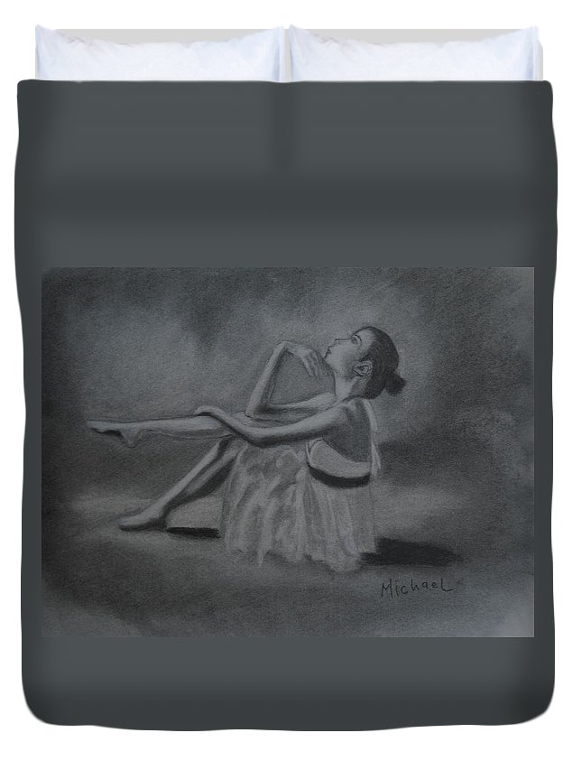 Ballerina Duvet Cover featuring the drawing Ballerina by Michael Brennan
