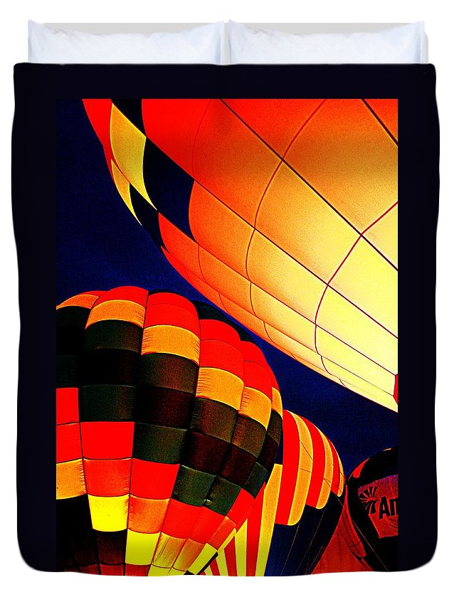Hot Air Baloon Duvet Cover featuring the photograph Balloon Glow 1 by Marty Koch