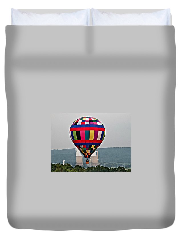 Ballooning Warren County Festival Balloon Power Stacks Duvet Cover featuring the photograph Ballooning Between The Stacks by Alice Gipson