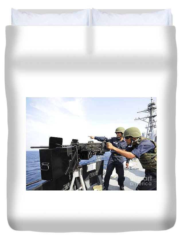Weapon Duvet Cover featuring the photograph Bangladesh Navy Sailors Fire by Stocktrek Images