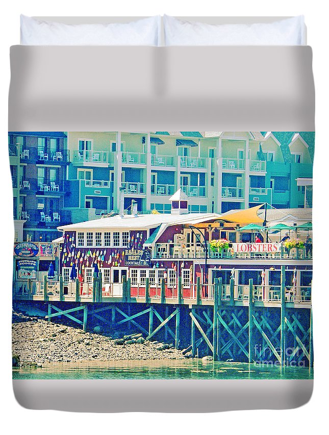 Vacation Duvet Cover featuring the digital art Bar Harbor Maine by Lizi Beard-Ward