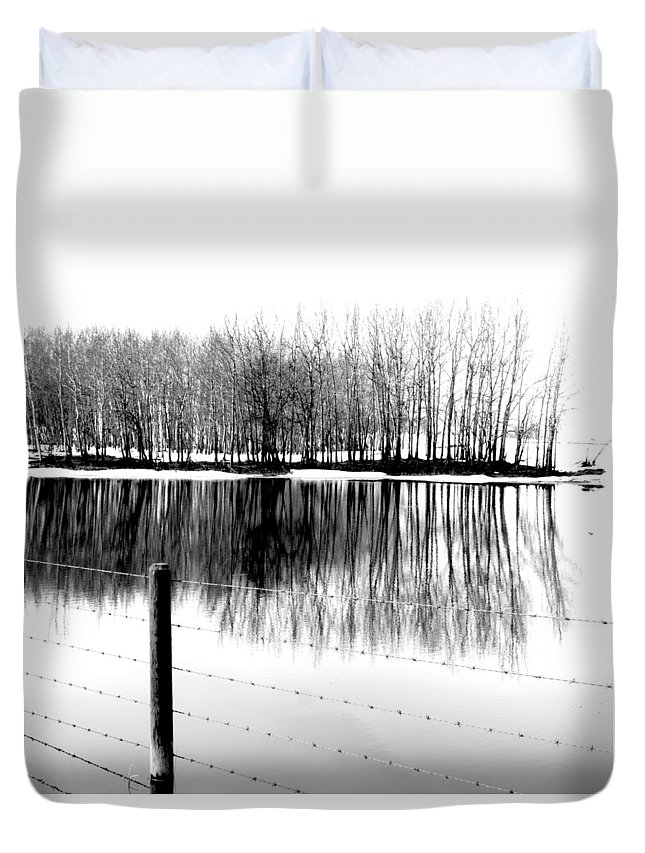 Rural Decay Duvet Cover featuring the photograph Barbed Water by The Artist Project