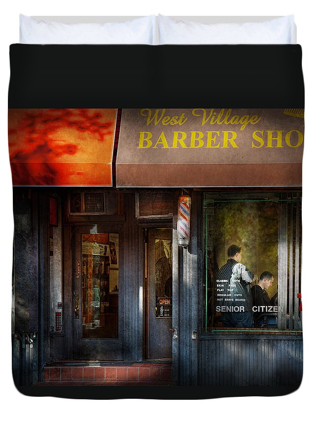 Barber Duvet Cover featuring the photograph Barber - Ny - Greenwich Village - West Village Barber Shop by Mike Savad