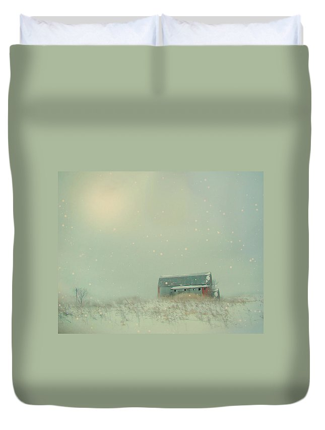 Barn Duvet Cover featuring the photograph Barn In Winter by Gothicrow Images