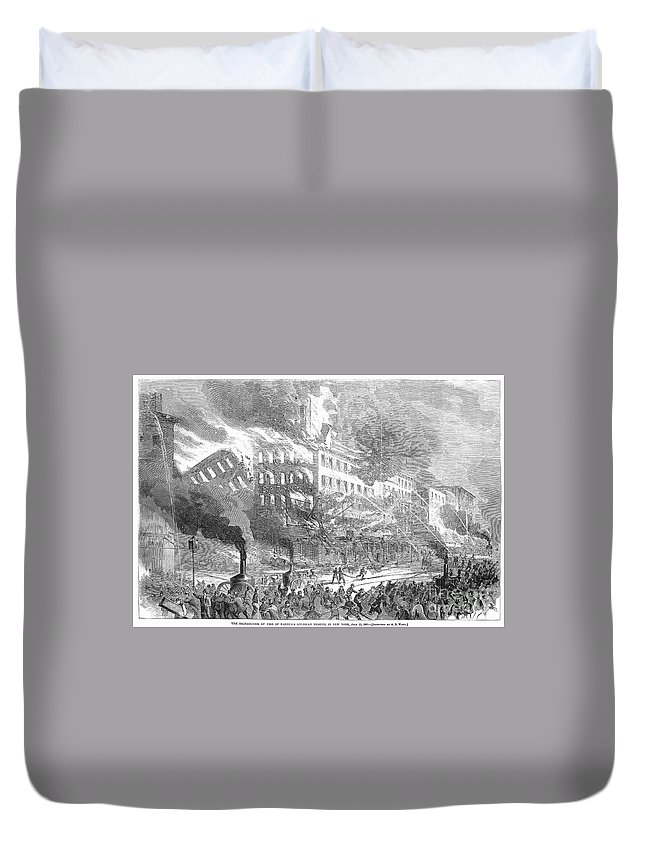 1865 Duvet Cover featuring the photograph Barnums Museum Fire, 1865 by Granger