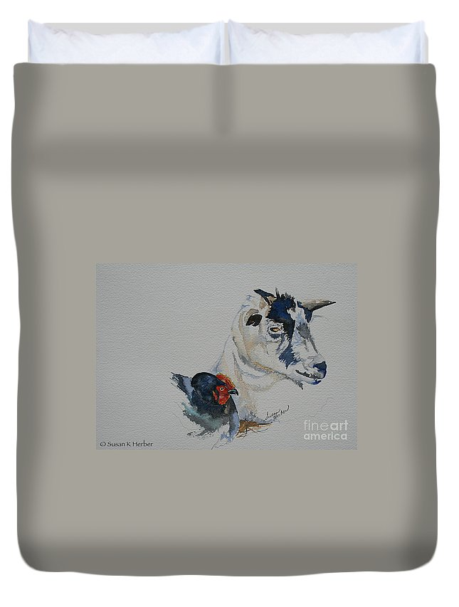 Animal Duvet Cover featuring the painting Barnyard Buddies by Susan Herber