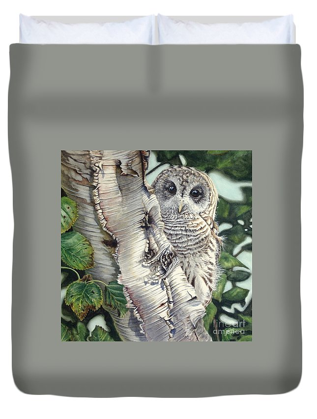 Owl Duvet Cover featuring the painting Barred Owl II by Greg and Linda Halom