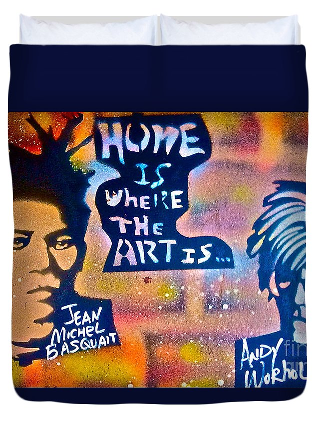 Graffiti Duvet Cover featuring the painting Basquait And Worhol by Tony B Conscious