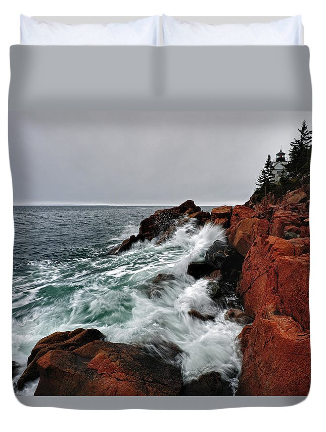 Tide Photographs Duvet Cover featuring the photograph Bass Harbor Head Lighthouse by Rick Berk