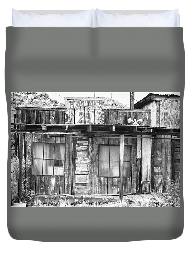 Baths Duvet Cover featuring the photograph Baths Twenty Five Cents Bw by James BO Insogna