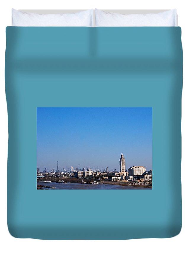 Baton Rouge Duvet Cover featuring the photograph Baton Rouge Skyline Louisiana by Susanne Van Hulst