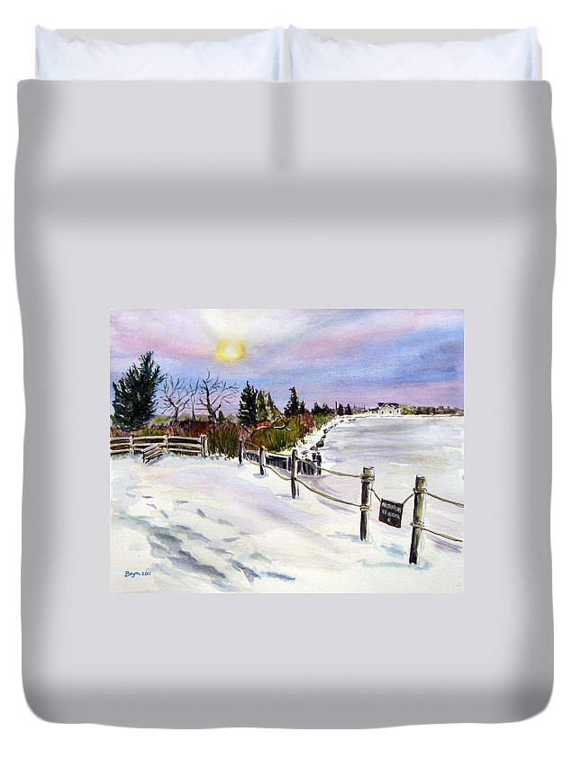 Barnegat Bay Duvet Cover featuring the painting Bay Freeze by Clara Sue Beym