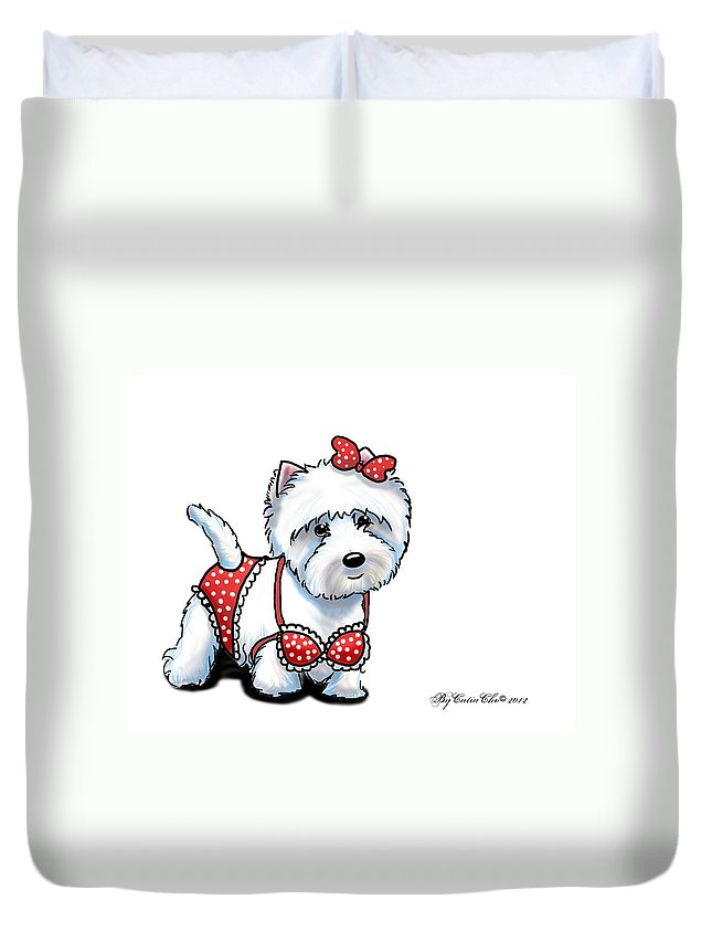 Westie Duvet Cover featuring the mixed media Beach Babe Westie by Catia Lee
