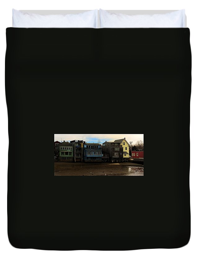 Rockport Duvet Cover featuring the photograph Beach Buildings - Greeting Card by Mark Valentine