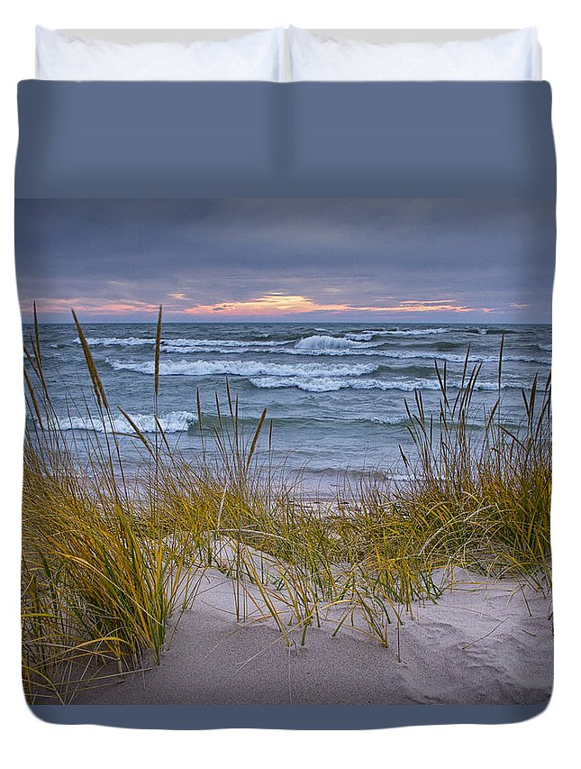 Art Duvet Cover featuring the photograph Beach By Holland Michigan No 0192 by Randall Nyhof
