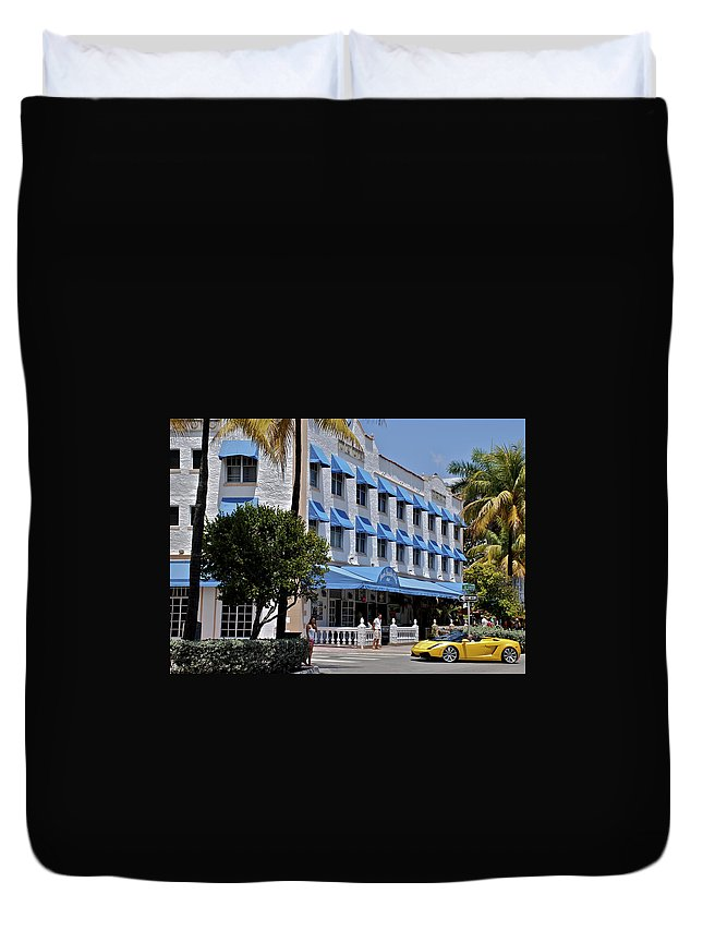 Miami Duvet Cover featuring the photograph Beach Paradise Hotel by Eric Tressler