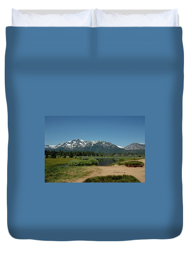 Usa Duvet Cover featuring the photograph Beach Reflections At Mt Tallac by LeeAnn McLaneGoetz McLaneGoetzStudioLLCcom