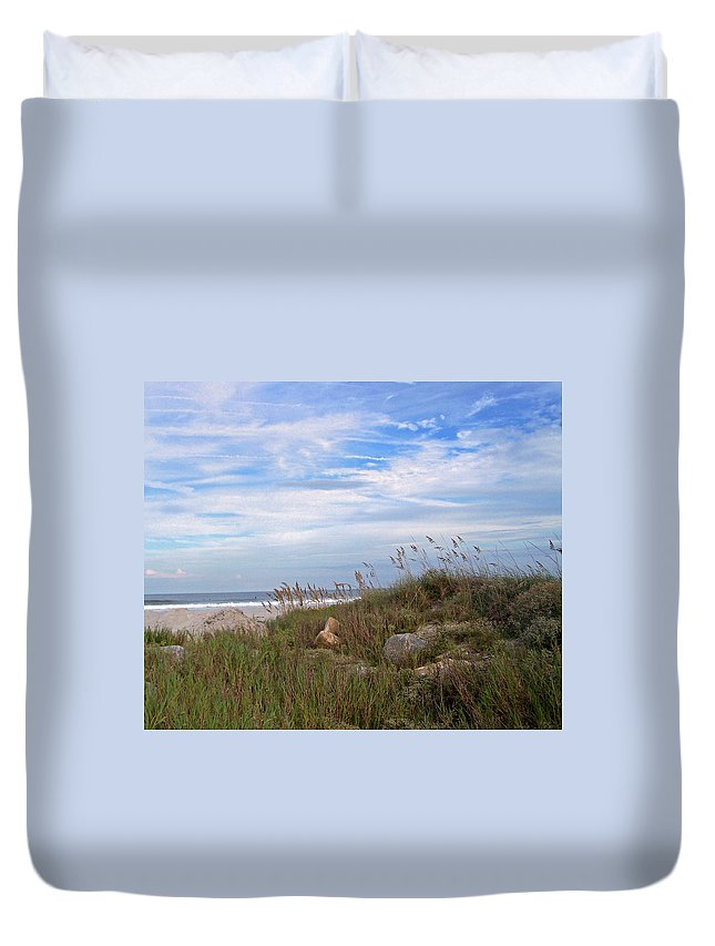 Sea Grass Duvet Cover featuring the photograph Beach Rocks by Patricia Taylor
