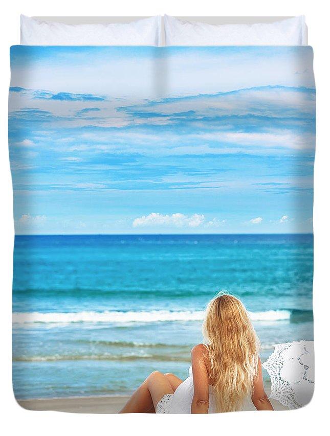 Beach Duvet Cover featuring the photograph Beach Woman by MotHaiBaPhoto Prints