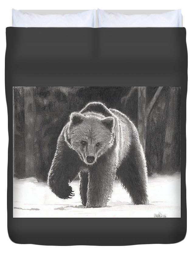 Bear Duvet Cover featuring the drawing Bear Necessities by Christian Conner