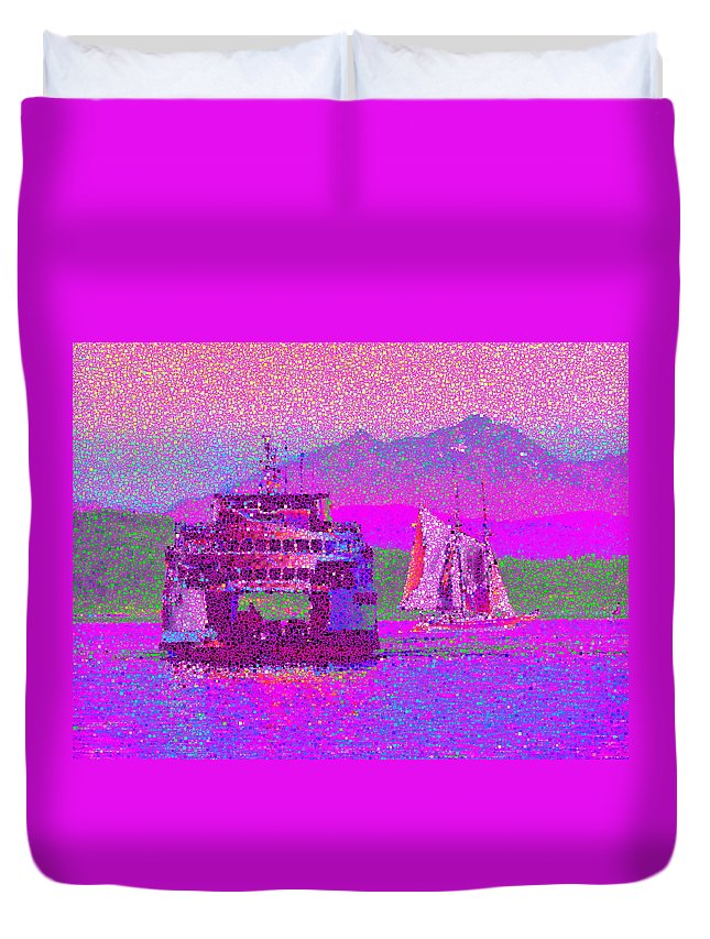 Sail Duvet Cover featuring the digital art Beautiful Day For A Sail by Tim Allen