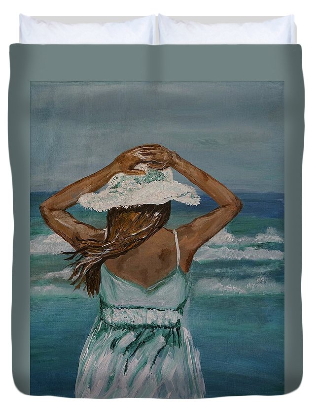 Woman Duvet Cover featuring the painting Beautiful Day by Leslie Allen