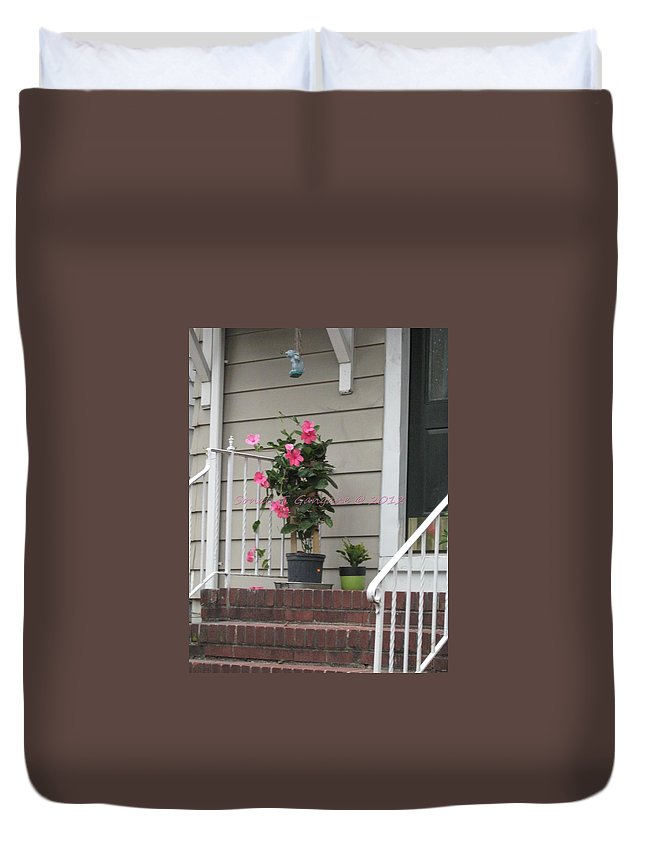 Pink Hibiscus Duvet Cover featuring the photograph Beautiful Floral Entrance by Sonali Gangane