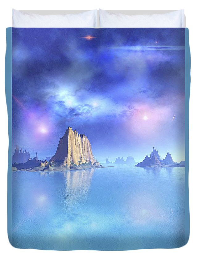 Beach Duvet Cover featuring the digital art Beautiful Night Scene Of The Ocean by Corey Ford