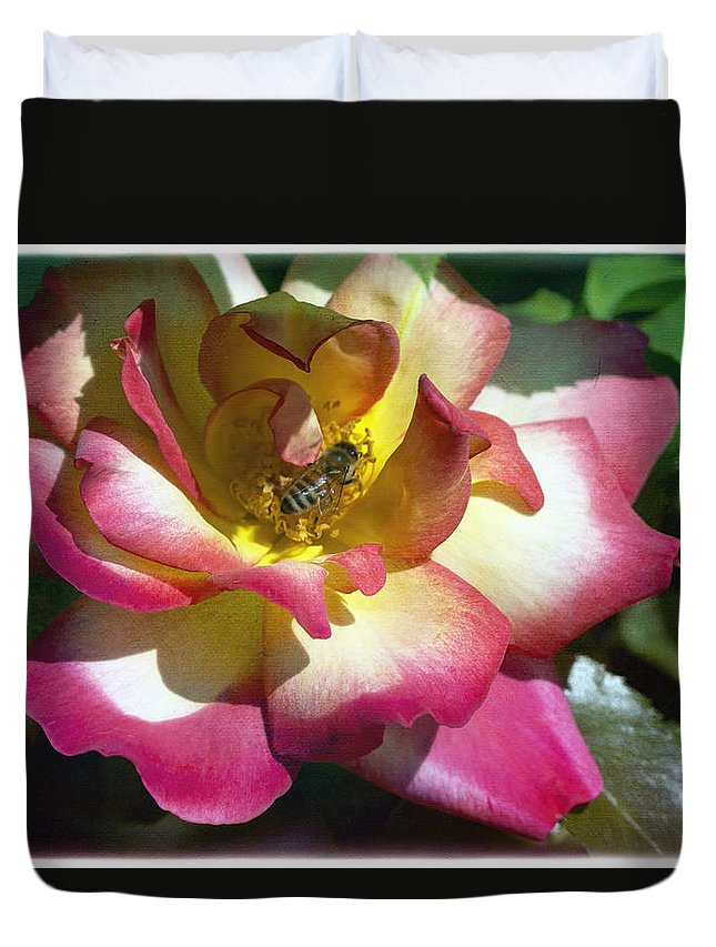 Bee Duvet Cover featuring the photograph Beauty And The Bee by Linda Dunn