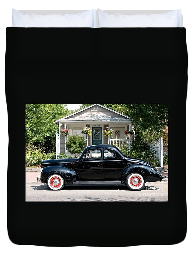Ford Duvet Cover featuring the photograph Beauty In Black by Vivian Christopher