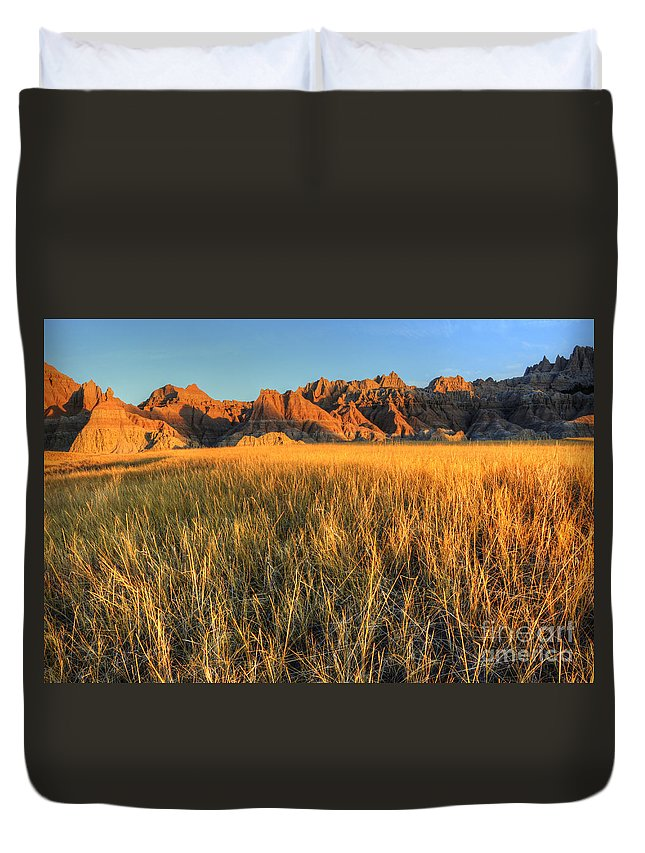 Badlands Duvet Cover featuring the photograph Beauty Of The Badlands by Bob Christopher