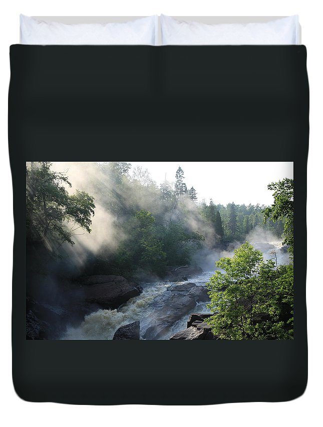 Duvet Cover featuring the photograph Beaver River Fog4 by Joi Electa