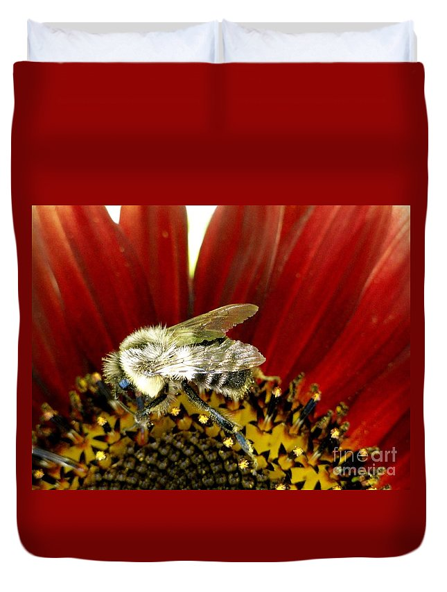 Bee Duvet Cover featuring the photograph Bee Tip Toes by Trish Hale