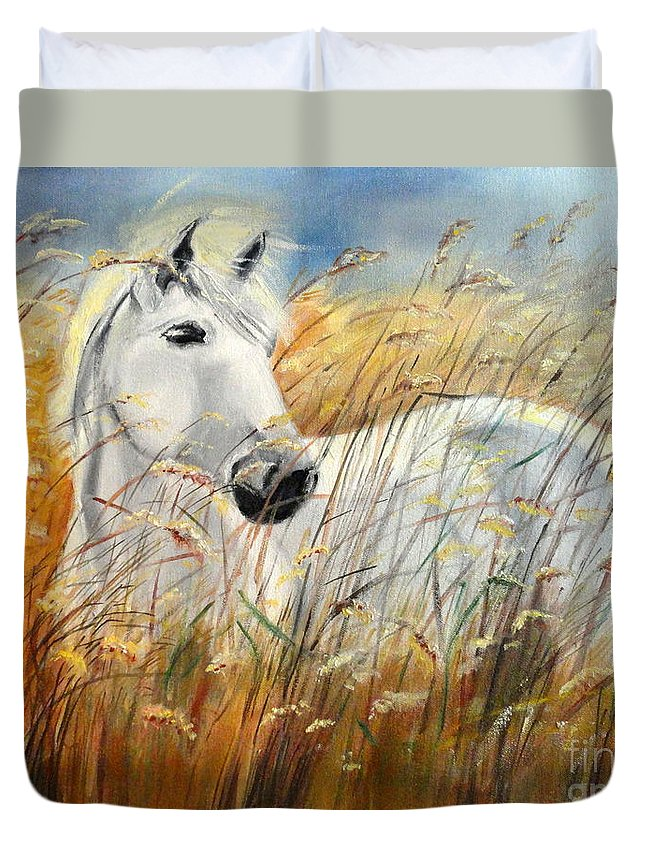Horse In The Field Duvet Cover featuring the painting Before The Storm by Tatjana Andre