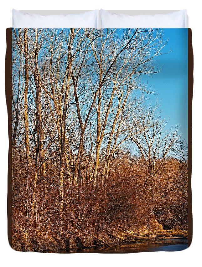 Heron Haven Duvet Cover featuring the photograph Beginning Ice by Edward Peterson