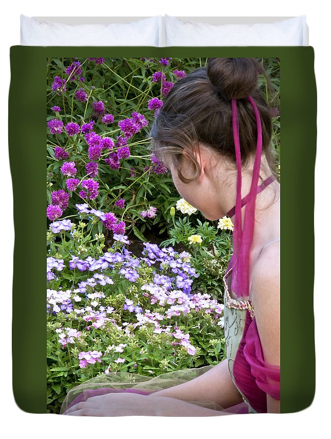 Girl Duvet Cover featuring the photograph Belle In The Garden by Angelina Vick