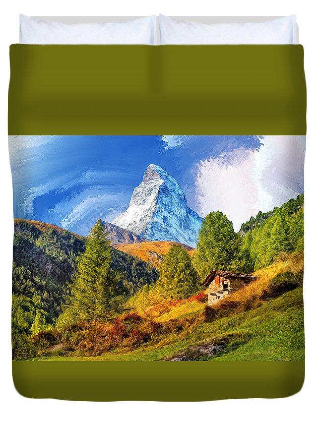 Matterhorn Duvet Cover featuring the painting Below The Matterhorn by Dominic Piperata
