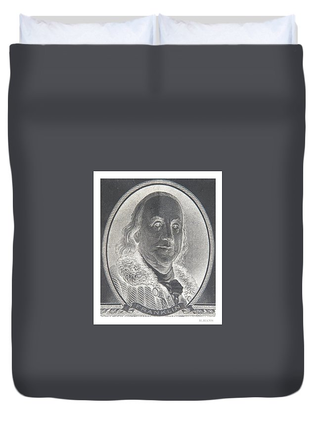 Ben Franklin Duvet Cover featuring the photograph Ben Franklin In Negative by Rob Hans