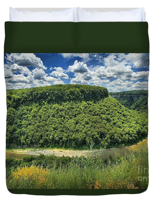 Letchworth State Park Duvet Cover featuring the photograph Bending by Adam Jewell