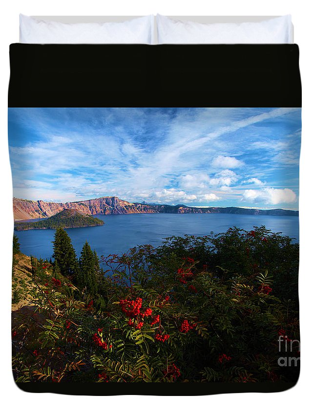 Crater Lake National Park Duvet Cover featuring the photograph Berries On The Crater by Adam Jewell