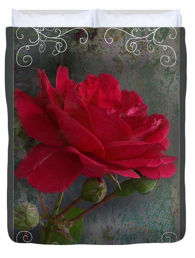 Nature Duvet Cover featuring the photograph Betty's Red Rose II With Decorations by Debbie Portwood