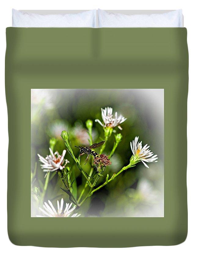Flower Duvet Cover featuring the photograph Between Jobs Vignette by Steve Harrington
