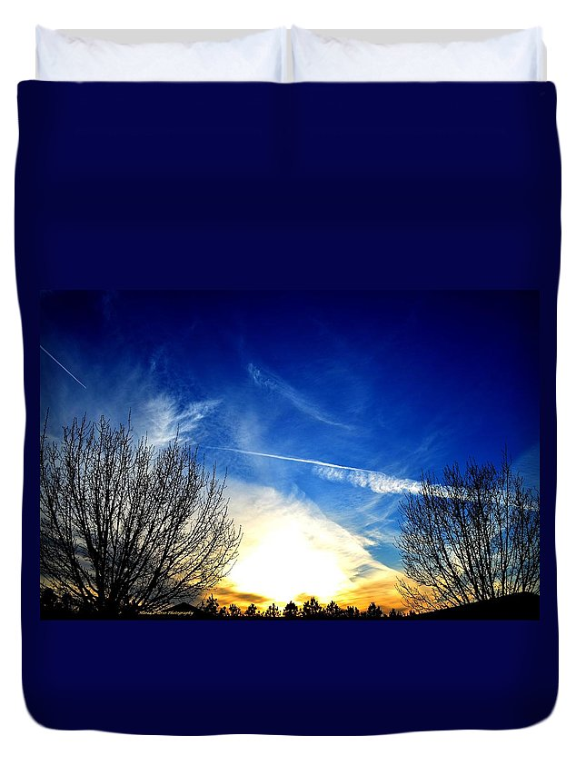 Between Duvet Cover featuring the photograph Between Two Trees by Maria Urso