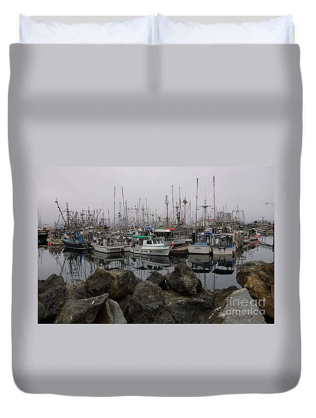 Fishing Boats Duvet Cover featuring the photograph Beyond The Stones by Bob Christopher